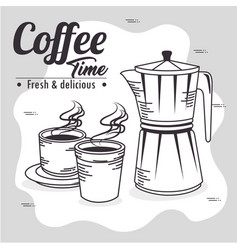 Coffee maker and cup of coffee design vector