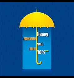 Creative heavy monsoon offer banner under umbrella vector