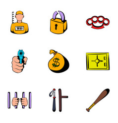 criminal icons set cartoon style vector image