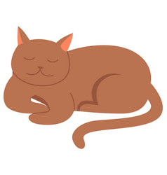 cute cartoon kitty with ginger colored fur lies vector image