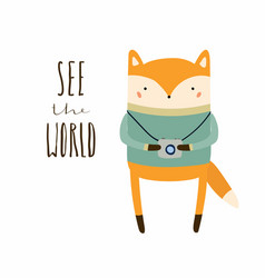 Cute fox with photo camera vector