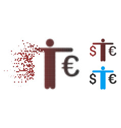 Dissolved pixel halftone person compare euro vector