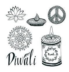 Diwali collection lotus rangoli diya and vector