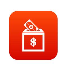 donation box icon digital red vector image