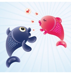 Fish in love vector