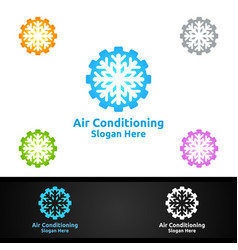 Fix snow air conditioning and heating services vector