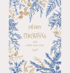 forest christmas frame vector image