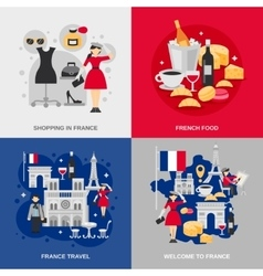 France Flat Set vector image