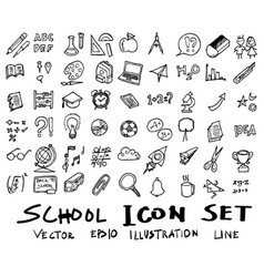 freehand drawing school items back to school vector image