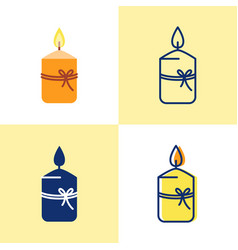 Gift candle icon set in flat and line style vector