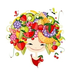 Girl with fruits on head fro your design vector