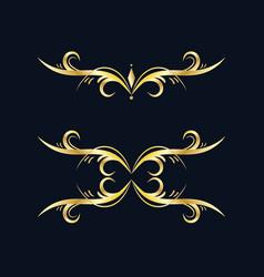 Golden border set hand drawn borders with glitter vector