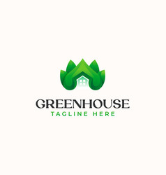 green leaf house logo template isolated in white vector image