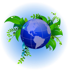 green planet eco nature ladybug vector image