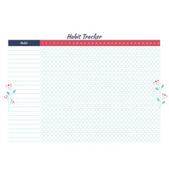 Habit tracker with minimalistic floral design vector