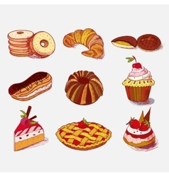 hand drawn sketch confections dessert pastry vector image