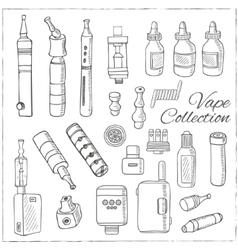 Hand drawn vape symbols set I vector