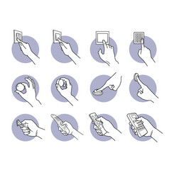 hand pressing turning pushing and flipping switch vector image