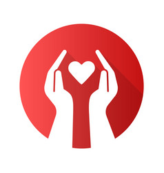 Hands with heart flat design long shadow glyph vector
