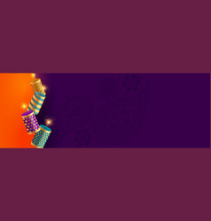 Happy diwali festival crackers banner with text vector
