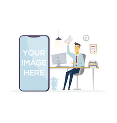Happy office worker - colorful modern vector