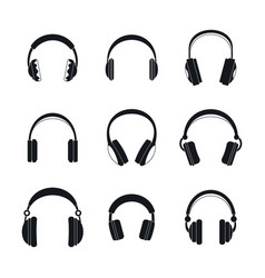 headphones music speakers icons set simple style vector image
