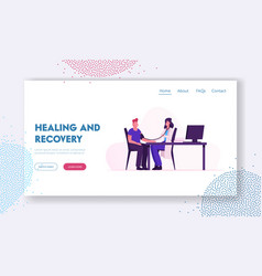 healing and recovery website landing page doctor vector image