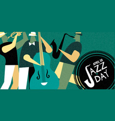 International jazz day retro poster of live music vector