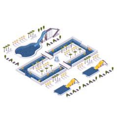 Isometric water park hotel outdoor scene with set vector