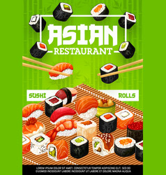 Japanese seafood sushi rolls and nigiri vector