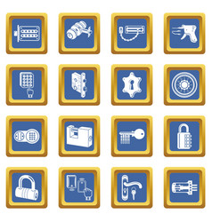 lock door types icons set blue square vector image