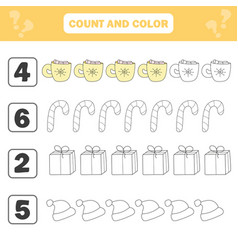 mathematics worksheet for kids count and color vector image