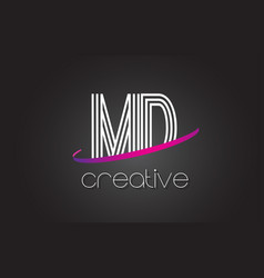 Md m d letter logo with lines design and purple vector