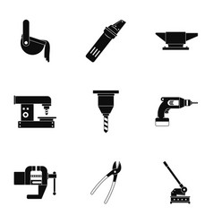 Metal processing industry icon set simple style vector