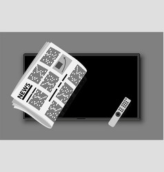 Modern tv and folded newspaper on its background vector