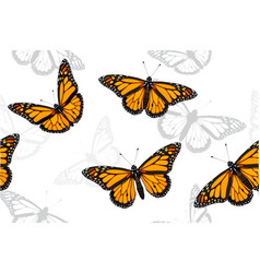 Monarch butterfly set seamless pattern vector