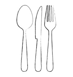 Monochrome blurred contour of cutlery set vector