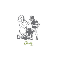 mother taking care boy concept sketch isolated vector image