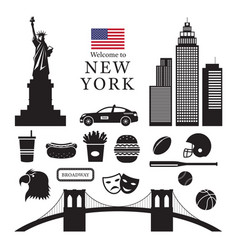 new york landmarks objects silhouette vector image