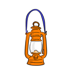 orange vintage oil lamp sketch vector image