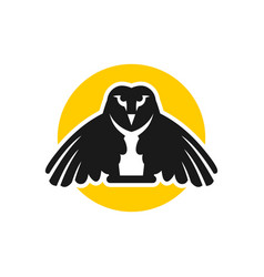 owl logo design with circles vector image