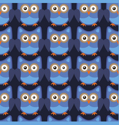owl stylized art seamless pattern blue colors vector image