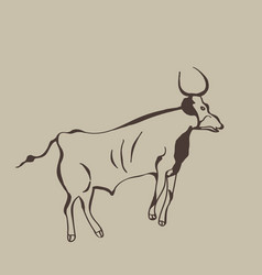 Painting of an ancient buffalo on a cave wall vector