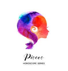 pisces zodiac sign beautiful girl silhouette vector image