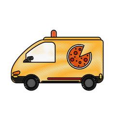 Pizza car flat scribble vector