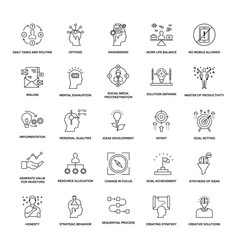 Project management line icons set vector