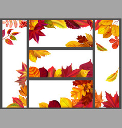 realistic autumn leaves banners yellow garden vector image