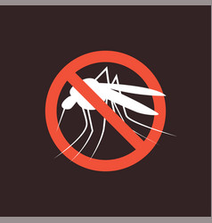 Repellent mosquito stop sign icon malaria pest vector