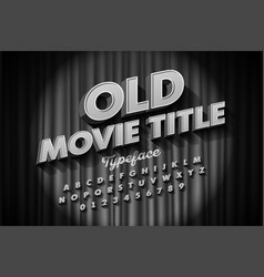 retro style font old movie title screen alphabet vector image