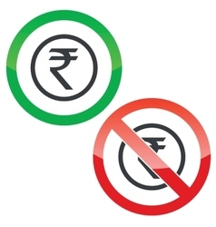 Rupee permission signs vector